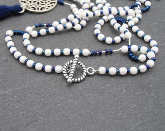 Ethnic necklace white blue silver pendant tassel print