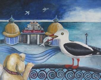 "Original Stillife Painting by Susanne Mason, ""Cromer Pier"""
