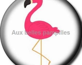 Round cabochon resin 25 mm - glue (1518) - Flamingo animal, bird