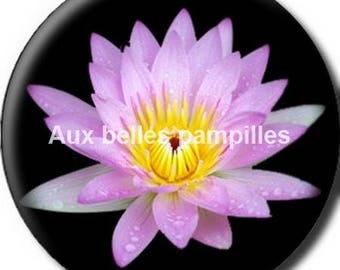 Round cabochon resin 25 mm - lotus flower paste (1538) - flower, floral