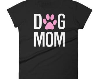 Dog mom t-shirt funny pink foot dogs design gift women Women's short sleeve