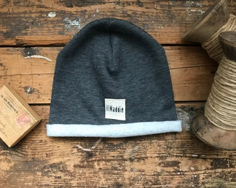 Dark gray cotton Hoodie Hat