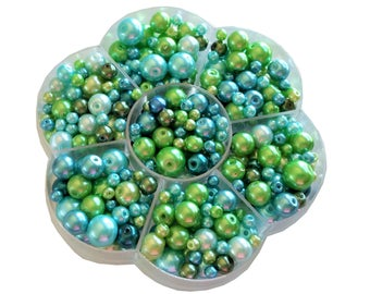 400+ Assorted Glass Pearls 4mm-10mm - Blue/Green, Bead case in included