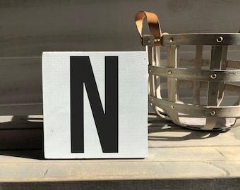farmhouse-farmhouse sign-initial sign-N sign-initial decor-wood decor-wood sign-self sitting sign-shelf sitter