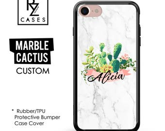 Marble Phone Case, Marble iPhone 7, Personalized Gift for Her, Cactus Phone Case, 7 Plus, iPhone 6S, Custom, Gift, Rubber, Bumper