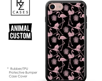 Animal Phone Case, Flamingo Phone Case, iPhone 7 Case, Gift for Her, Pink Flamingo, Tropical, 7 Plus, iPhone 6S, Rubber, Bumper