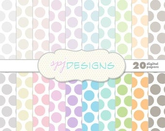 20 Pastel Polka Dots/Spots Digital Printable Scrapbooking Paper Background