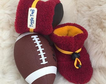 Maroon and gold non-slip soft sole shoe from Toggle Toes, Minnesota college football, preschool 24-36 months or baby shoe size 7-8