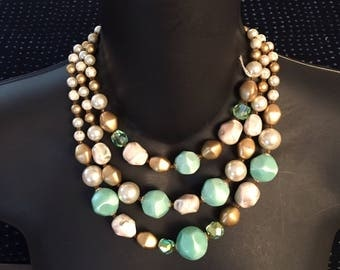 1960s teal gold pearl beaded necklace abd clip on earrings set