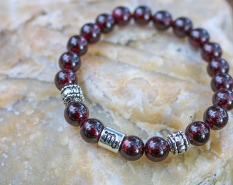 Zodiac Scorpio Garnet Beaded Bracelet, Gift, Stocking Stuffer, Gift for Her, Handmade
