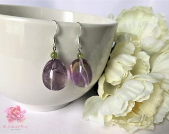 Spiritual Clarity Genuine Ametrine and Peridot Silver-Plated Dangle Earrings