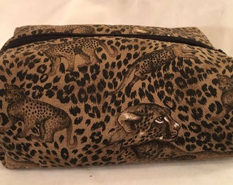 Leopard Print Cosmetics Bag, Travel Bag, Toiletries Bag, Shaving Bag