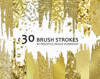 Gold Brush Strokes Clipart/ Gold Foil Brush Strokes/ Gold Glitter Brush Strokes/ Bokeh Brush Stroke/ Metallic Transparent PNG