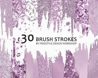 Purple Brush Strokes Clipart/ Purple Foil Brush Strokes/ Purple Glitter Brush Strokes/ Bokeh Brush Stroke/ Metallic Transparent PNG