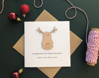 Personalised Christmas Card, laser cut, custom made Rudolf the reindeer with name card.