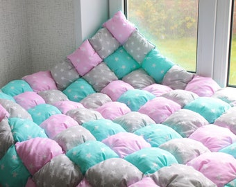 Bubble Quilt baby blanket marshmallows