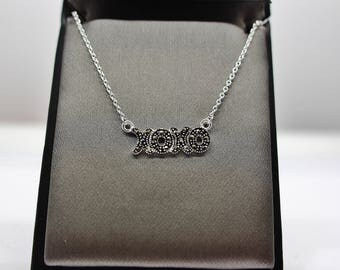 Sterling Silver Marcasite XOXO Necklace