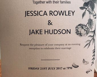 Black and white rose wedding invite