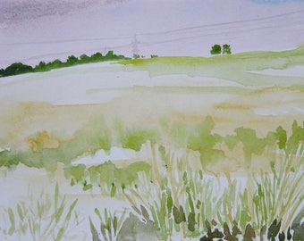 Rawyards Hill, Airdrie - watercolour (print)