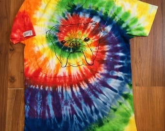Bulldog shirt, tie dye shirt, primary colors rainbow tie dye, bulldog tie dye shirt, tattoo shirt, bulldog tattoo shirt