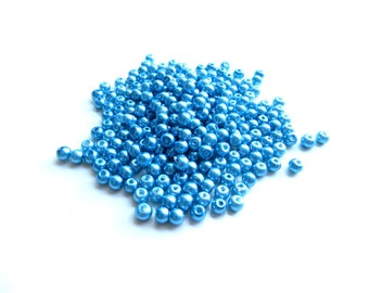 170 sky blue glass Pearl 4 mm beads