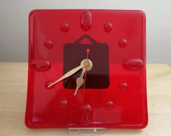 Red Fused Glass Clock