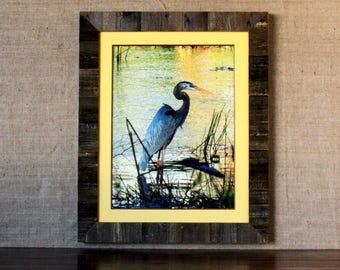 XL Rustic Textured Wood Inlay Frame with ORIGINAL Yellow Wooden Matting 18x24 - rustic frame, wooden frame, wooden mat frame, wood matting