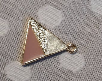 Triangle pendant with pink, gold and pearl colour detail - charm - jewellery - geometric