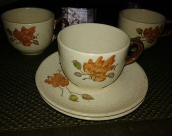Metlox Poppy Trail Woodland Gold Pattern cups and saucers
