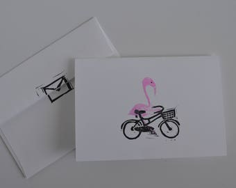 Biking Flamingo Card