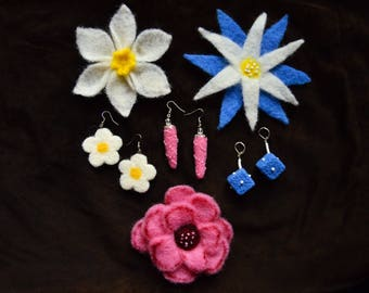 Whie daffodil, blue start flower and pink rose hand felted wool brooch and earring sets. Merino wool. Perfect Christmas gift, coat Accessory
