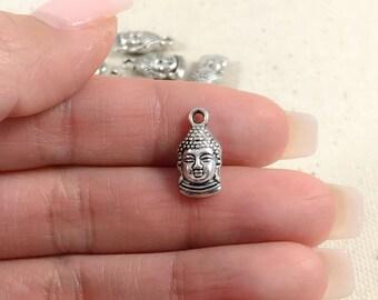 Silver Buddha Charms | Antique Silver Buddha Charms | Yoga Charms | Peace Charms | Buddha Pendants | Religious Charms | 15x7mm SB281