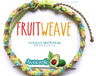 AVOCADO TWIST BRACELET, Guatemalan Bracelets, Handmade bracelets, colorful bracelets, fruit based, fruit weave, friendship bracelets.