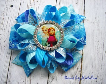 Frozen Hair bow Frozen Party Elsa Party Disney Princess Frozen Dress Queen Elsa Loopy Hairbow Elsa hair clip Frozen Favor