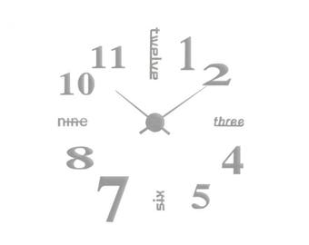 DIY Wall Clock 3D XXL 70cm-130cm Large Wall Clock Kit Stickers Home Art Modern Decor