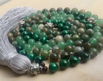 Gemstone Energy Mala Beads - 108 bead gemstone mala necklace - Heart Chakra Mala Necklace - Malachite & Jade Healing Crystal Chakra Mala