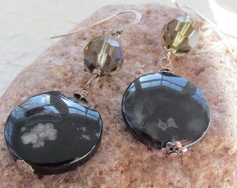 Black Agate Swarovski Sterling Silver Earrings