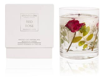 Nature's Gift Red Rose Natural Wax Gel Candle