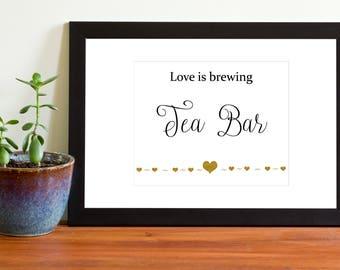 Wedding Tea Bar Sign, Printable Wedding Sign, Beverage Station, Black and Gold