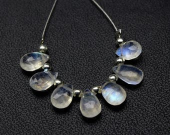 Natural Rainbow Moonstone 7 PCs Pear Briolette Faceted  7X5 MM Approx Fine Quality blue Flashy fire Rainbow