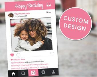 Instagram Photo Booth Prop, Instagram Pink, Birthday Instagram Sign, Instagram Frame Prop, Instagram Sign, Birthday Frame, Photobooth Sign