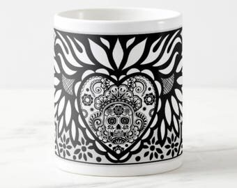 Sugar Skull 2 - Big Coffee Mug Unique Coffee Mug Coffee Lover Gift Gift for Teacher Wedding Gift Cheap Christmas Gift Custom Mugs Gift Idea