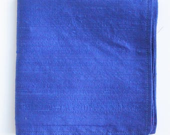 Silk Hankie Pocket Square Handkerchief 100% SILK DUPION Royal Blue - UK Made