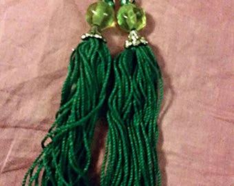 Green tassel dangle earrings
