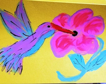 Hand painted hummingbird note cards (blank inside) colors may vary