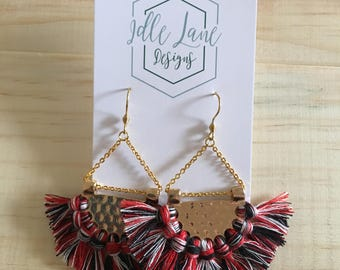 Red, White and Black Fan Tassels