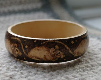 Wood Burnt Mice Bangle