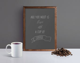 Coffee Print, Coffee Poster, Coffee Wall Art Print, Coffee Kitchen Print, Coffee Art Print, Coffee Quote Print, Gift for Coffee Lovers Print