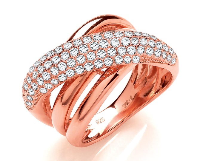 Rose Gold on Sterling Silver Micro Pave Cz Crossover Ring Hallmarked