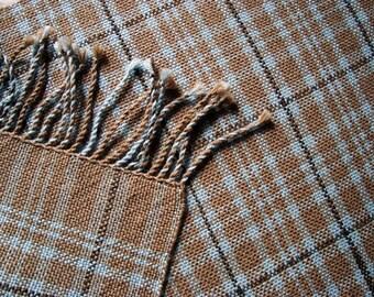 Hand woven womens alpaca scarf Woolen tartan plaid scarf handmade Handwoven scottish wool  winter ladies scarf Women beige scarf Warm  wrap